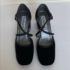 UNLISTED Black Velvet Cross Strap Heels